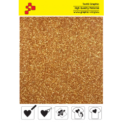 425A Dark Gold Pearl Glitter (Sheet) termal transfer film / POLI-FLEX